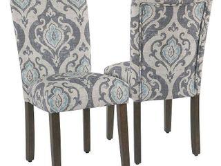 HomePop Classic Parsons Dining Chair   Suri Blue Slate  Set of 2   Retail 208 99