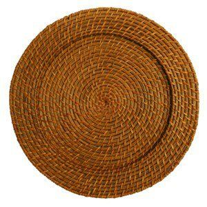 4 piece Brown Rattan Round Charger Plate Set