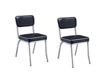 Coaster Company Black Chrome Plated Retro Dining Chair  Set of 2  Retail 164 49