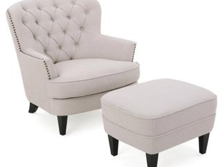 Tafton Tufted Fabric Club Chair with Ottoman by Christopher Knight Home  Retail 449 99