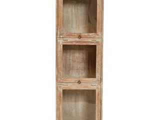 48 H 3 Section Mango Wood Cabinet with 3 Top Hing Glass Doors  Retail 246 49