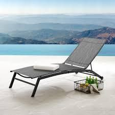 Corvus Antonio Outdoor Contemporary Sling Fabric Adjustable Chaise lounge  Retail 146 99 grey striped