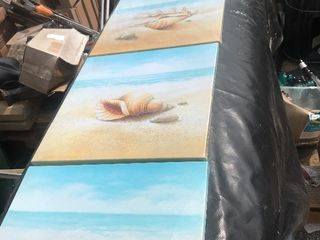 Four panels of canvas art seaside seam or paint over and use canvas for your own paintings