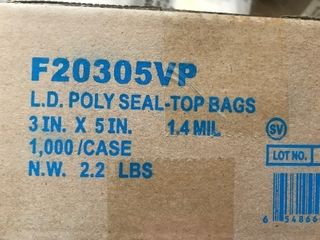 Box of 1000 small Ziploc bags 3 x 5