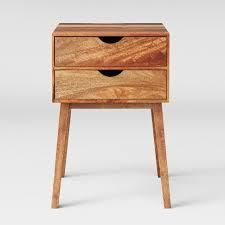 Mid Century Modern Wood Two Drawer Side Table- Retail:$129.99