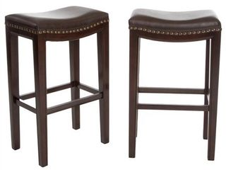 Christopher Knight Home Avondale Brown Bonded Leather Bar Stool (Set of 2)- Retail:$153.91