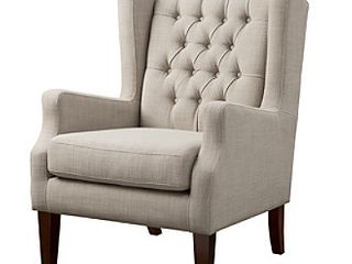 Lyle Button Tufted Wing Chair Linen