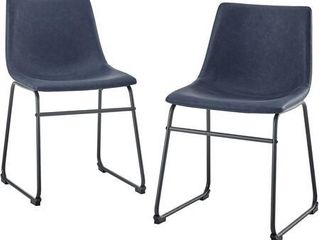 "18"" Faux Leather Dining Chair, Set of 2 - Navy Blue"
