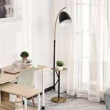 "HOMCOM 67"" Multifunctional Floor Lamp with Shelf Height Adjustable Standing Lamp 2-in-1 E26 Lamp Holder Steel - Black- Retail:$126.99"