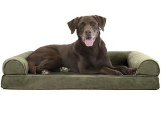 FurHaven Pet Bed | Faux Fur & Velvet Orthopedic Sofa Dog Bed