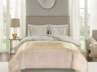 Madison Park Midnight Grove Blush Metallic Print Duvet Set