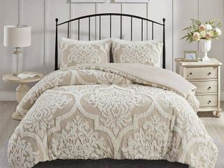 Madison Park Aeriela Tufted Cotton Chenille Damask Duvet Cover Set- Retail:$119.98