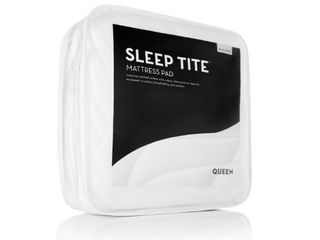 Deep Pocket Fit Quilted Mattress Pad with Damask Cover and Down Alternative Fill by SLEEP TITE - White