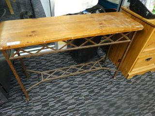 Metal frame wood top sofa table