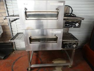 lincoln Impinger double stack model 1132 electric conveyor pizza ovens on stand w  wheels