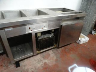 2 hole steam table   refrigerated area  stainless steel