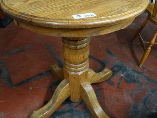 Oak round pedestal table  end table size