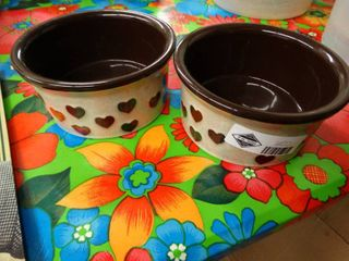 2 ceramic dog dishes