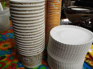 lot of paper plates  cups   misc