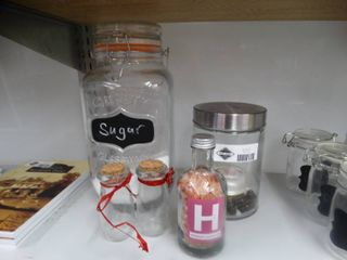 large glass jar canister w  chalkboard front   other glass jars