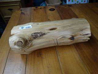 Carved log jewelry box w  secret drawers