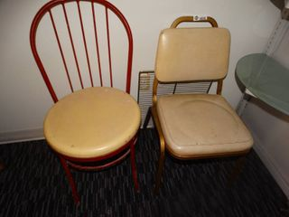 2 vintage metal dining chairs