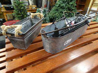 2 various metal planters