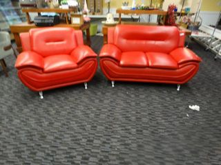 Awesome red couch chair set  Very modern