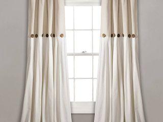lush Decor linen Button Window Curtain Single Panel 2 pc
