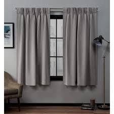 Porch & Den Bolling Sateen Woven Blackout Curtain Panel Pair with Pinch Pleat Top grey