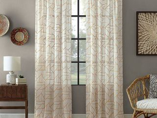 "Archaeo Jigsaw Embroidery Linen Blend Curtain, 50"" W x 84"" L 2 pc"