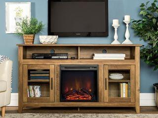 58-inch Reclaimed Barnwood Highboy 2-Door Fireplace TV Stand Console only Retail:$369.49