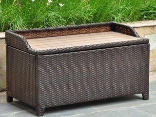 International Caravan Barcelona Resin Wicker/Aluminum Outdoor Storage Bench- Retail:$256.49