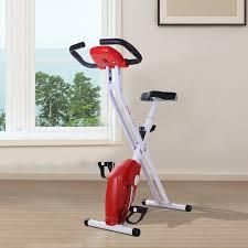 Soozier Folding Exercise Bike LCD Monitor Home Gym Exercise Adjustable Tension Padded Seat Heart Rate Monitor Pulse Sensor- Retail:$111.49 red