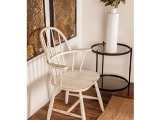 Farmhouse Distressed White Wooden Chair by Studio 350- Retail:$309.99