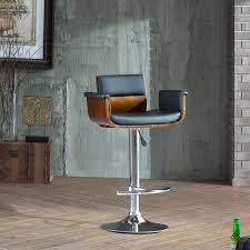 Corvus Tony Mid century Black and Walnut Adjustable Swivel Bar Stool  Retail 121 99