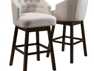 Ogden 35-inch Fabric Swivel Backed Barstool (Set of 2) by Christopher Knight Home- Retail:$238.99