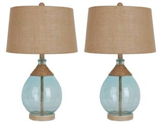 Cerena Glass and Rope Table Lamp - Set of 2- Retail:$75.98