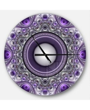 Designart 'Purple Fractal Pattern with Circles' Oversized Modern Wall CLock- Retail:$129.49