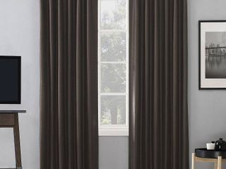 Sun Zero Evelina Faux Dupioni Silk Thermal Extreme Total Blackout Back Tab Curtain Panel 2 pc
