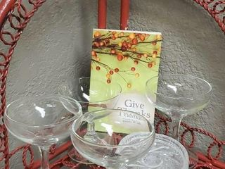 Give Thanks stemware, wine glasses, coasters