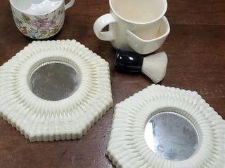 Vanity lot, pair of mirrors, shaving mug, brush
