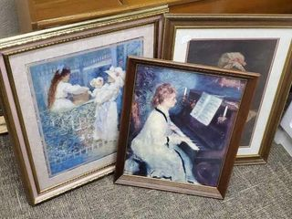 Assorted frames and artwork, set of 3