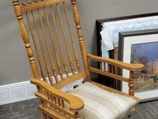 Antique oak glider rocker