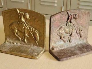 Cast iron cowboy bookends, pair