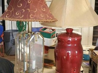 Wine colored lamps, mirror and ceramic (2)