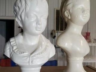 Ceramic busts, set of 2