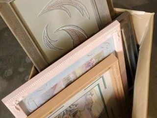 Box of assorted frames and artwork