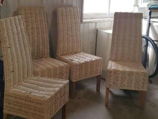 Wicker dining chairs, set of 4