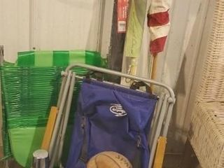 Backpack chair, lawn chair, thermos, flags